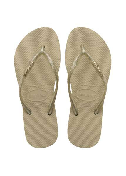 HAVAIANAS SLIM LOGO METALLIC SAND GREY/LIGHT GOLDEN