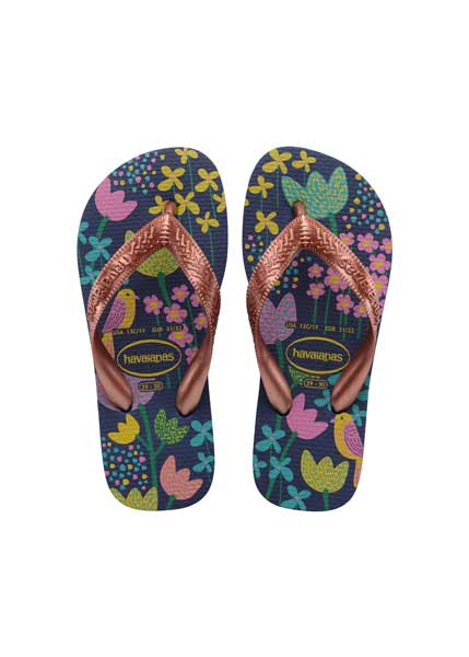 HAVAIANAS KIDS FLORES DARK BLUE/GOLD