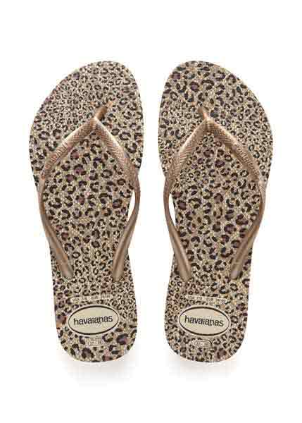 HAVAIANAS SLIM ANIMALS BEIGE/ROSE GOLD/ROSE GOLD