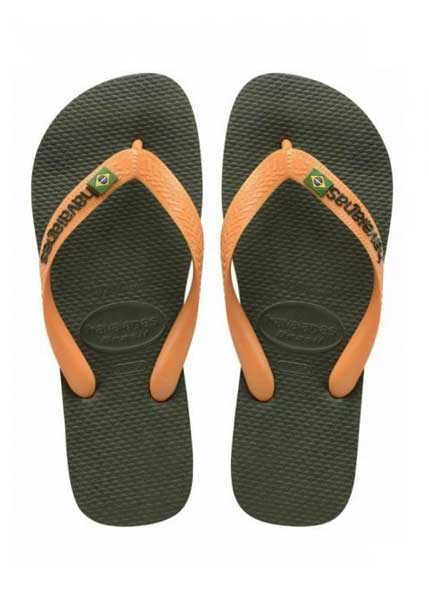 Havaianas brasil green olive/vibrant orange