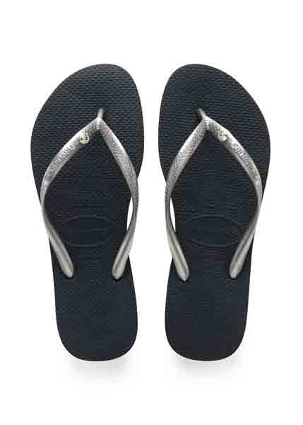 HAVAIANAS SLIM CRYSTAL GLAMOUR SW NEW GRAPHITE/SILVER METALLIC