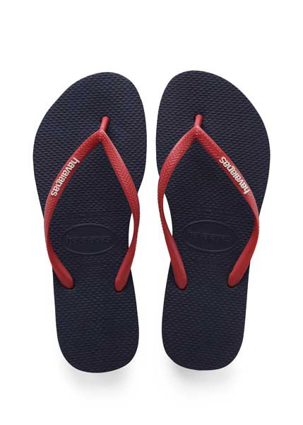 HAVAIANAS SLIM LOGO NAVY BLUE/RUBY RED