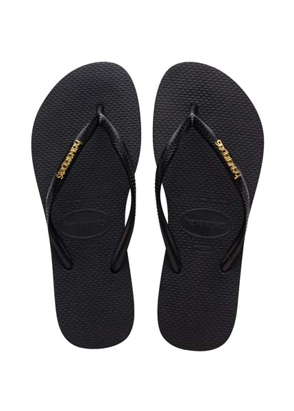 HAVAIANAS SLIM LOGO METALLIC BLACK/GOLD