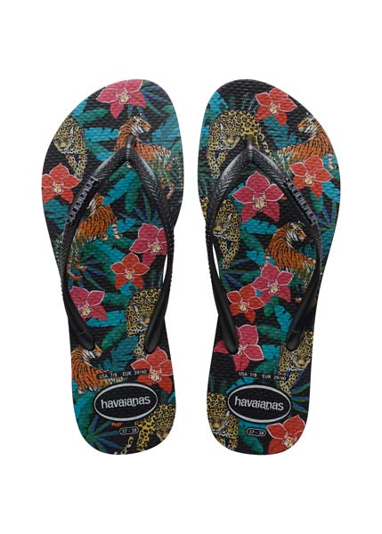 HAVAIANAS SLIM TROPICAL BLACK/DARK GREY METALLIC