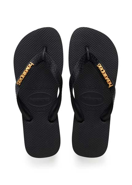 HAVAIANAS TOP LOGO METALLIC BLACK/BLACK