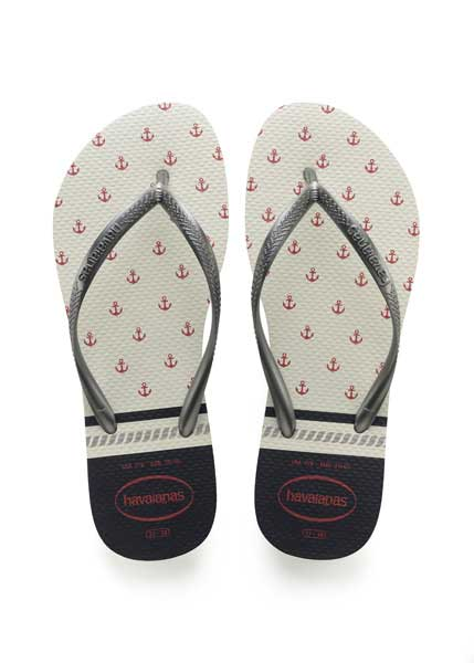 HAVAIANAS SLIM NAUTICAL WHITE/GRAPHITE